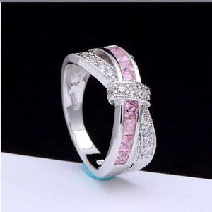 Size 9 Pink Sapphire 925 Sterling Ring